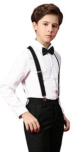 Boihedy Boy Formal Suit Set Toddler Boy Suspender Outfit