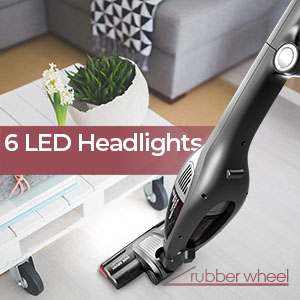 roomietec cordless vacuum with led headlights to see better in dark area and under furniture