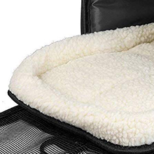 close up of pet union pet carrier fluffy bed