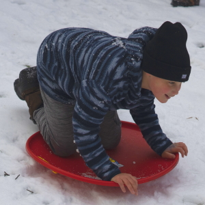 winter kids snow sled
