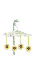Yellow, Green and White Sunflower Boho Floral Girl Baby Nursery Musical Crib Mobile