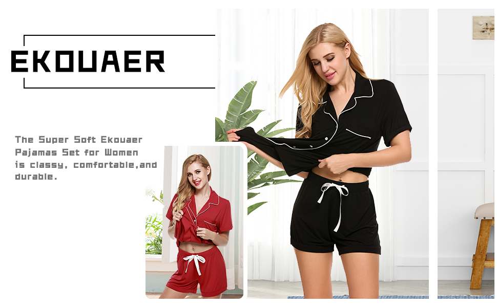 Ekouaer Womens Pajama Set Short Sleeve Sleepwear Pjs Sets Nightwear