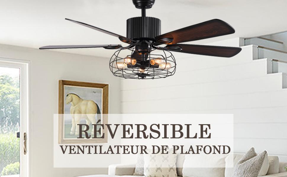 ventilateur de plafond réversible avec lumières