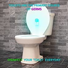 toilet, disinfect, santize, aerosol, deodorize, uv light, uv lamp, uv, uvc, germicidal, germs