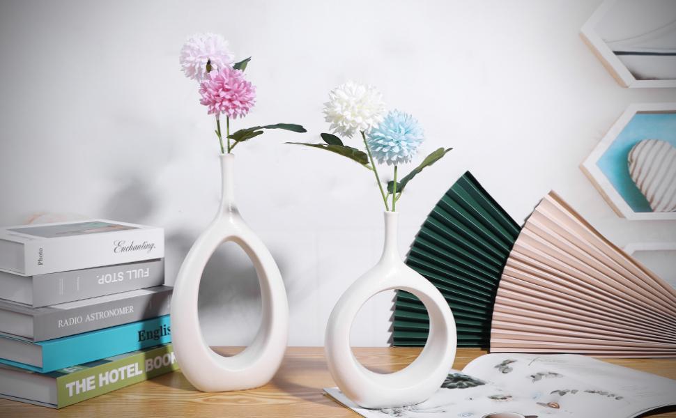SANFERGE Ceramic Flower Vase for Home Décor Office Decoration, 9.2/11.8in Oval Modern Geometric Vase