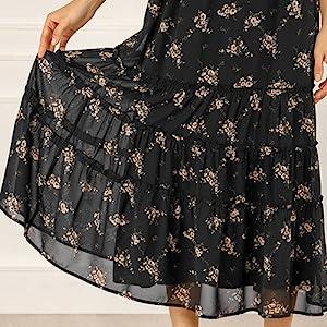 Allegra K Women's Floral Elastic Waist Tiered A-Line Midi Skirt