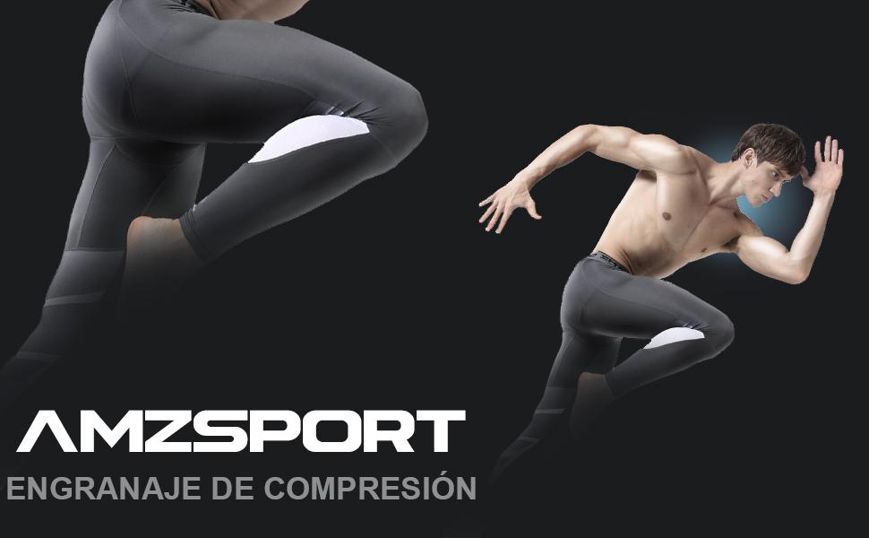 AMZSPORT Hombre Medias de Compresi/ón Leggings de Correr Capas Base Pantalones Deportivos