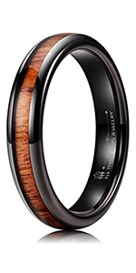 6mm 8mm Wood Inlay Tungsten Ring