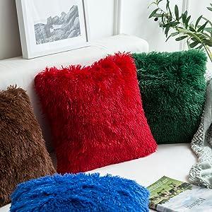 faux fur pillow cover blue pillows