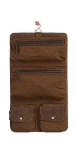 Genuine Buffalo Leather Hanging Toiletry Travel Dopp Kit