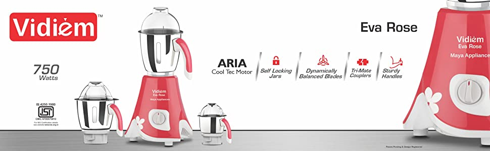 Vidiem, Maya Appliances, Mixer Grinder, Juicer, Blender, Jars, 750 Watts Motor, Eva Rose