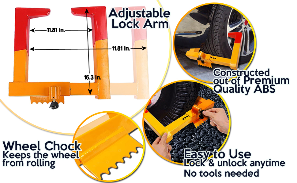Security Wheel Chock Lock- Clamp Boot Tire Claw