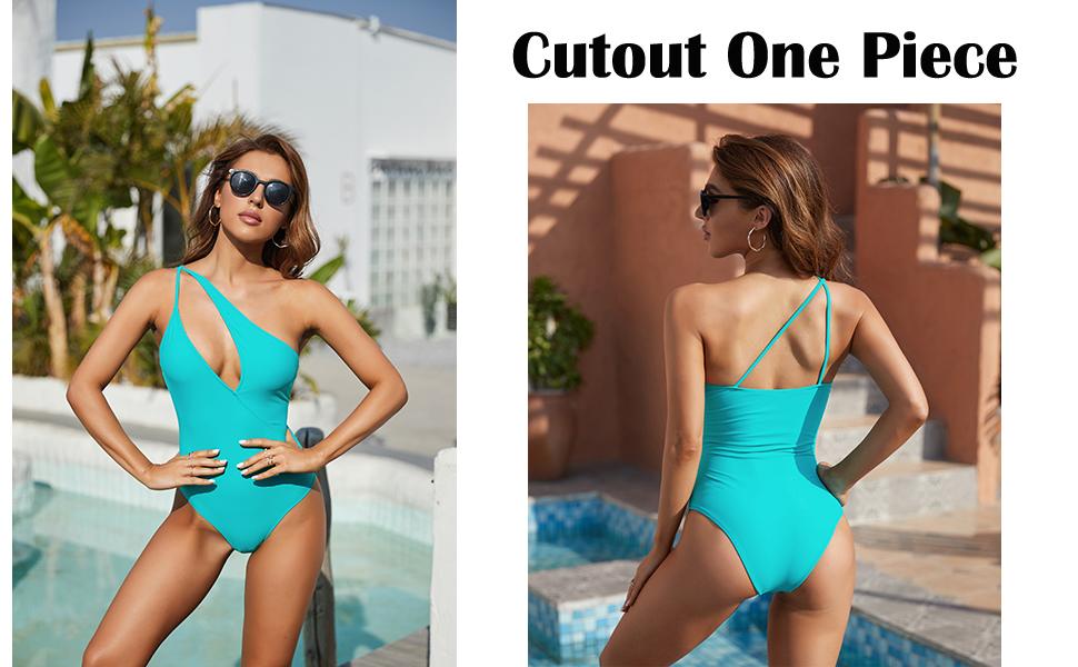 One Piece Swimsuits for Women Sexy High Cut Bathing Suits One Shoulder Cutout Bikini Swimwear