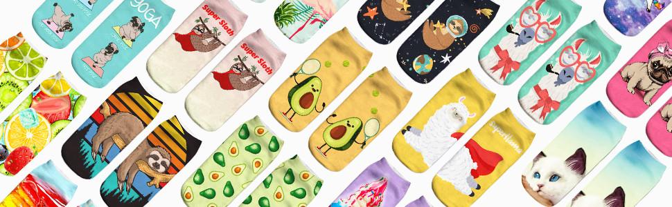 funny cute novelty 3D print ankle socks gift