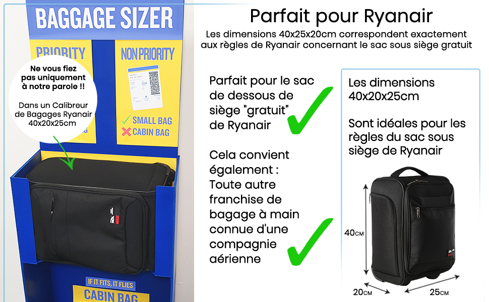 Bagages de Chariot sous Le Si/ège Cabin Max Narvik Stowaway Sac 40x20x25 ryanair/  20L