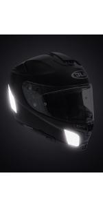 casque, moto, réfléchissant, noir