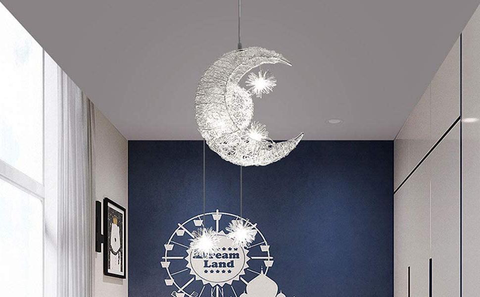 Plafonnier Lampe de Fée Lune et étoiles Lustre de Chambre à Coucher Grand Cadeau Pour Enfant Ami