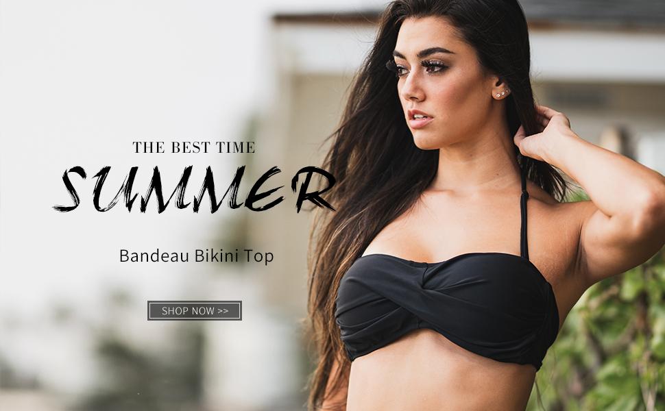 Colloyes Womens Swimwear Twist Bandeau Bikini Top Plus Size Bathing Suit
