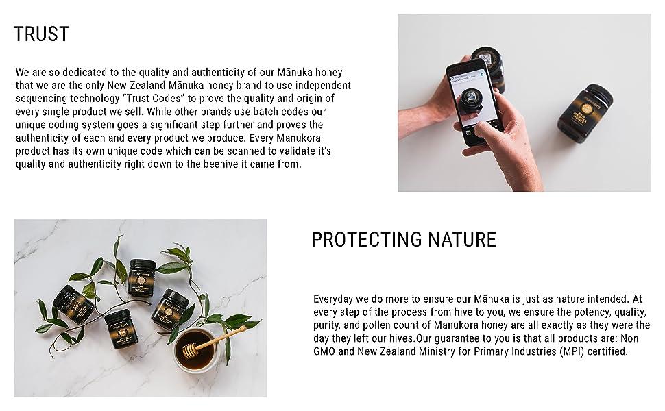 Authentic manuka honey, non-GMO, antibiotic-free