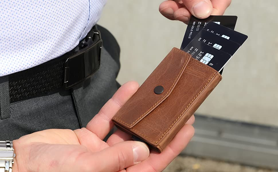 Kartenetui Leder etui Kreditkartenetui kleine Geldbörse Slim Wallet