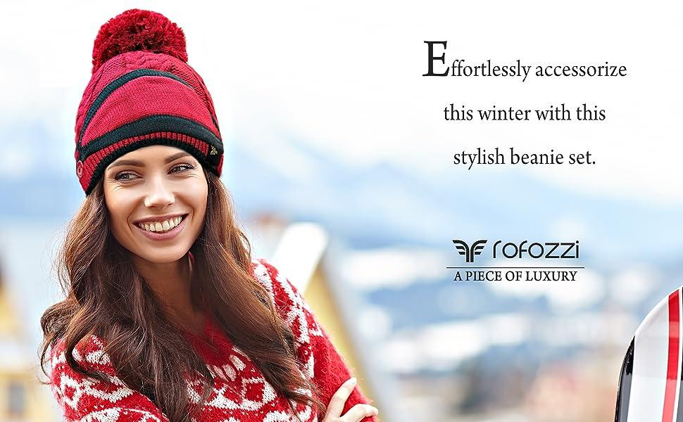 rofozzi women winter hats knitted beanies pom pompom fur mask  muffler scarves