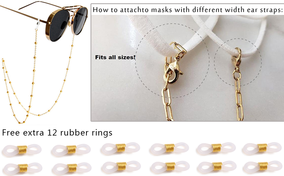 Red and Gold Eyeglass Chain or Mask Holder Free Shipping