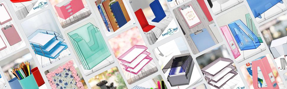 plastic desktop letter tray stacking mesh desk file paper document A4 solid red acrimet