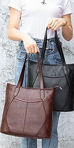 Heshe Vintage Leather Women Shoulder Bag Hobo Bag Ladies Bucket Handbags