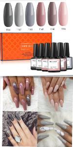 Modelones Gel Nail Polish Set - Nude Gray Series 6 Colors Nail Art Set, UV LED Soak Off Gel,