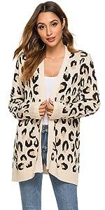 White Leopard Cardigan Sweater