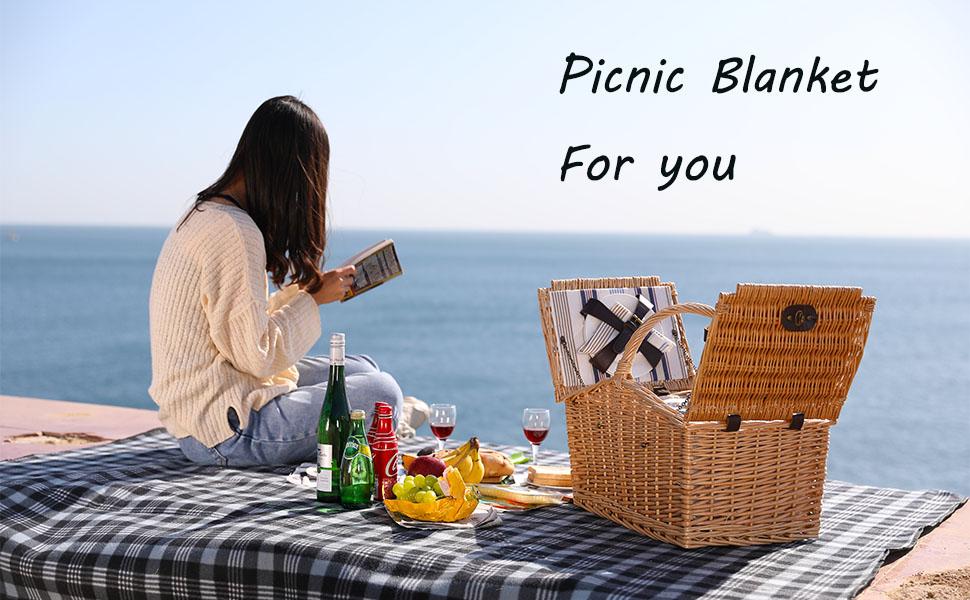 Hierba y port/átil Impermeable para Playa Manta de Picnic Extragrande Color Blanco y Negro ZORMY 3 Capas Camping para Picnic al Aire Libre Playa pr/áctica Estera