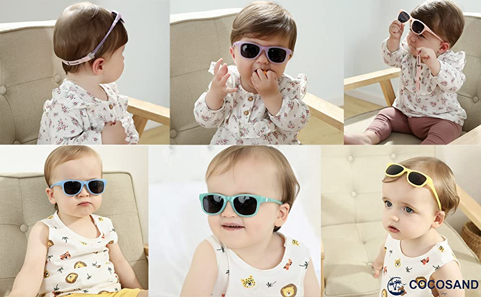 COCOSAND Baby Sunglasses 100/% UV Protection with Adjustable Strap for Baby Toddler Girls /& Boys Age 0-24months