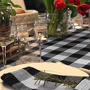 black and white plaid napkins