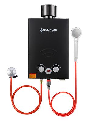 Camplux BW158BC Calentador de Agua A Gas sin Tanque con Tapa de lluvia, 6L/MIN, para Uso en Campamentos, RV, Viajes, Lavado de Caballos