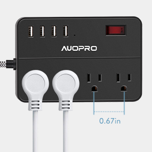 power strip with spaced outlets