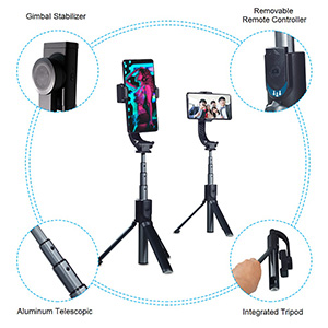 Gimbal Steady Wireless-Fernbedienung und 580 mm Aluminium-Teleskop
