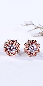 Jeulia 925 Silver Love Knot Earrings Rose Gold Plated Stud Earrings