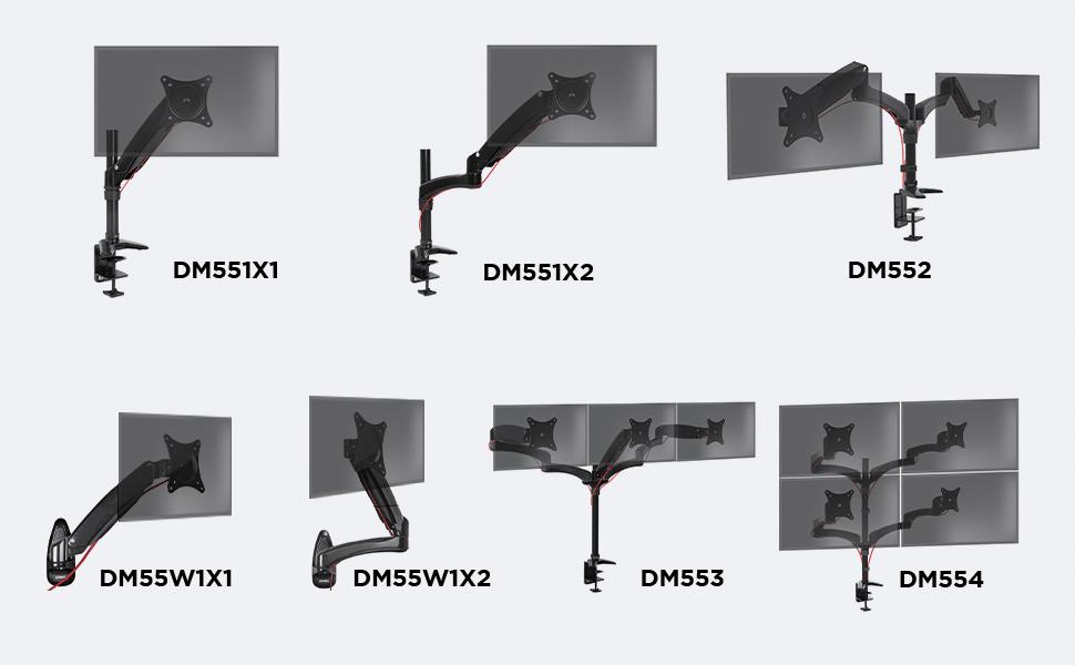 Rotatif // Inclinable // P Rev/êtement en chrome Duronic DM653 Support triple 3 /écrans PC pour bureau /à pince Ajustement omnidirectionnel /à la vol/ée gr/âce au m/écanisme /à gaz Hauteur ajustable