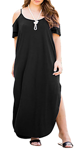 Nemidor Women's Cold Shoulder Spaghetti Strap Ruffle Sleeve Plus Size Slit Maxi Dress with Pockets