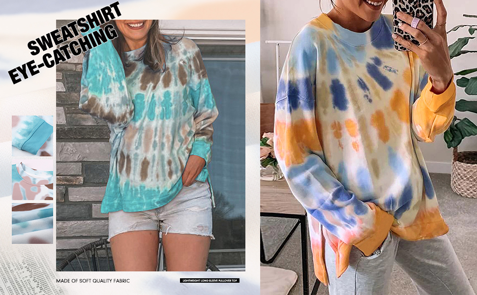 Zecilbo Womens Fall Sweatshirts Tie Dye Tops Round Neck Lightweight Loose Pullover Shirts and Blouses Multicolor M