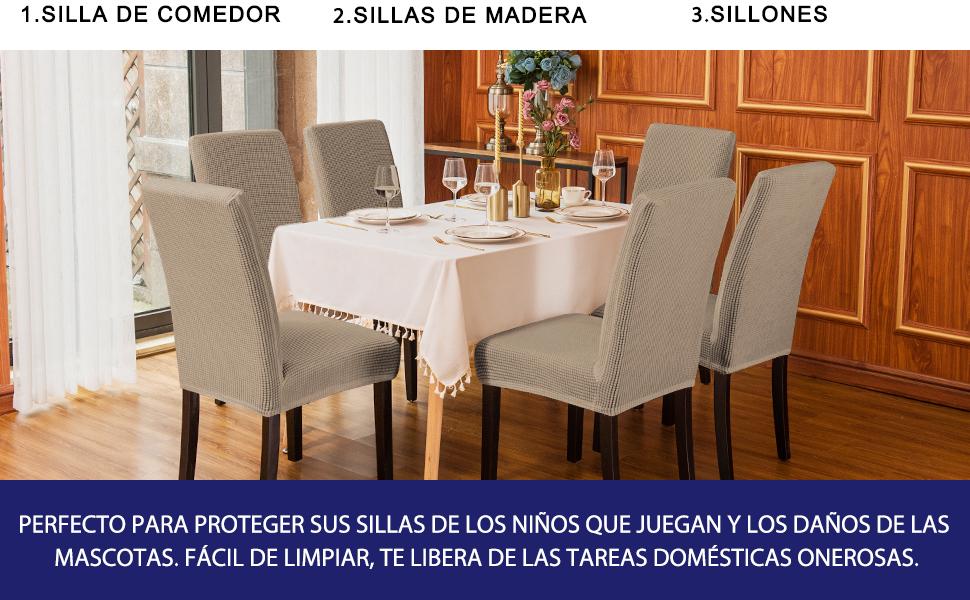 subrtex Funda de Silla Poliéster Elástica Cubierta de Asiento Forro de Silla Doméstico Comedor (Pack de 2, Arena)