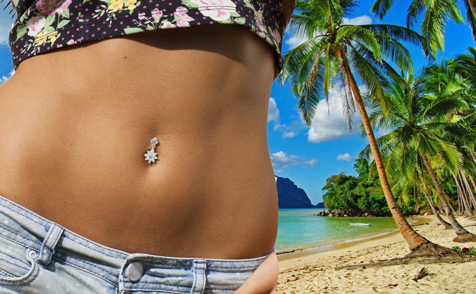 Cute Dangy Belly Button Bars Navel Rings Dangle Drop Body Piercing Jewellery