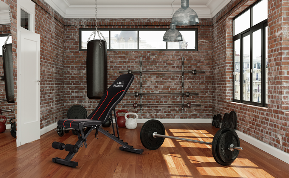 weight bench in home gym