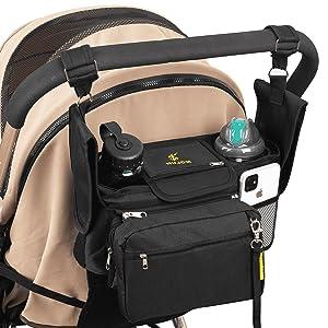 Stroller organizer bag with broader velcro straps