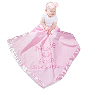 baby play with pink blanket personalized with name and added text