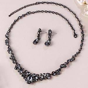 Grey prom jewelry set