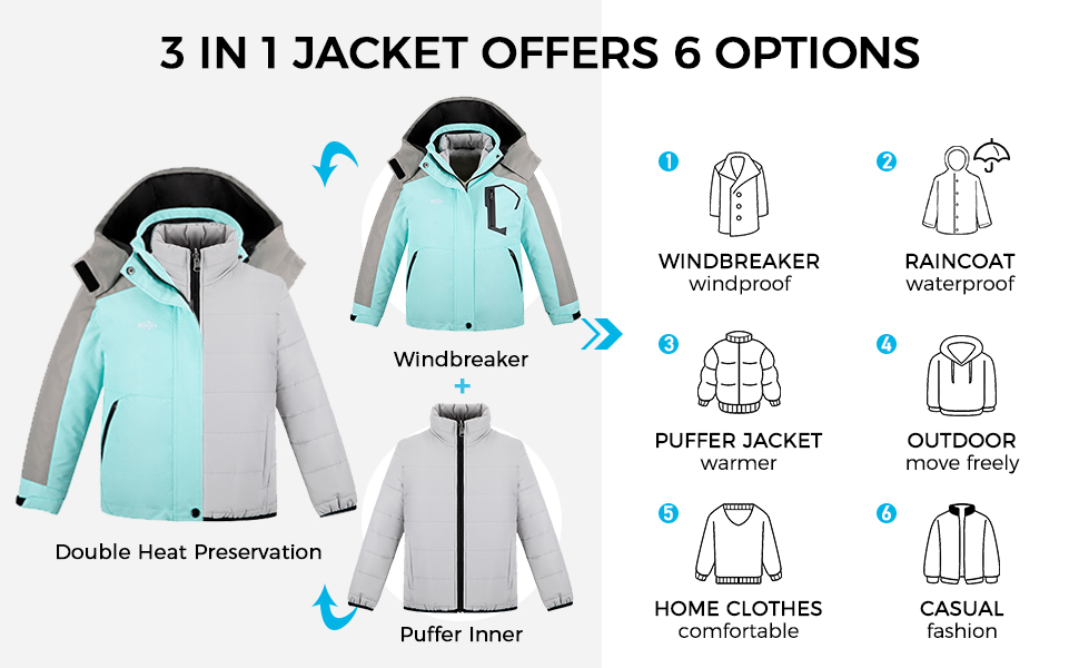 Wantdo Girl's 3 in 1 Waterproof Ski Jacket