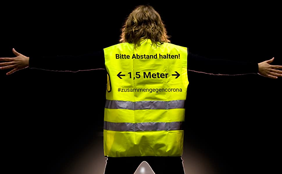 5x Warnwesten Mit Abstandswarnung Bitte Abstand Halten 1 5m Und Reflektorstreifen Nach En Iso 20471 Zertifiziert Sicherheitsweste Gelb Mit Klettverschluss Einheitsgröße Xxl 5x Gelb Baumarkt