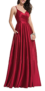 Women's Long Formal Prom Dresse Evening Party Ball Gown Satin with Pockets