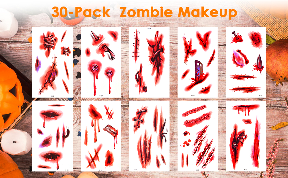 Halloween Zombie Makeup Tattoos Stickers
